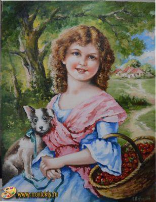 Девочка с щенком и корзиной